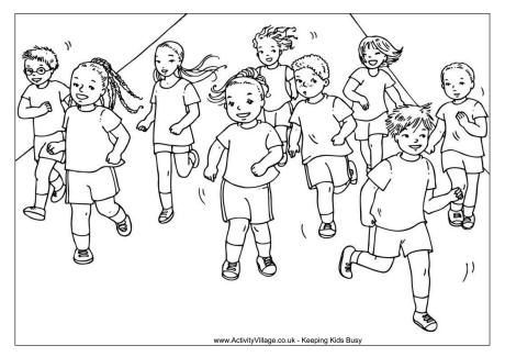 Running Race Colouring Page Gambar Warna