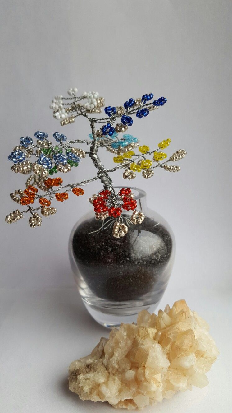 Chakra wire tree seed beads   tree   Pinterest   Wire trees and Beads