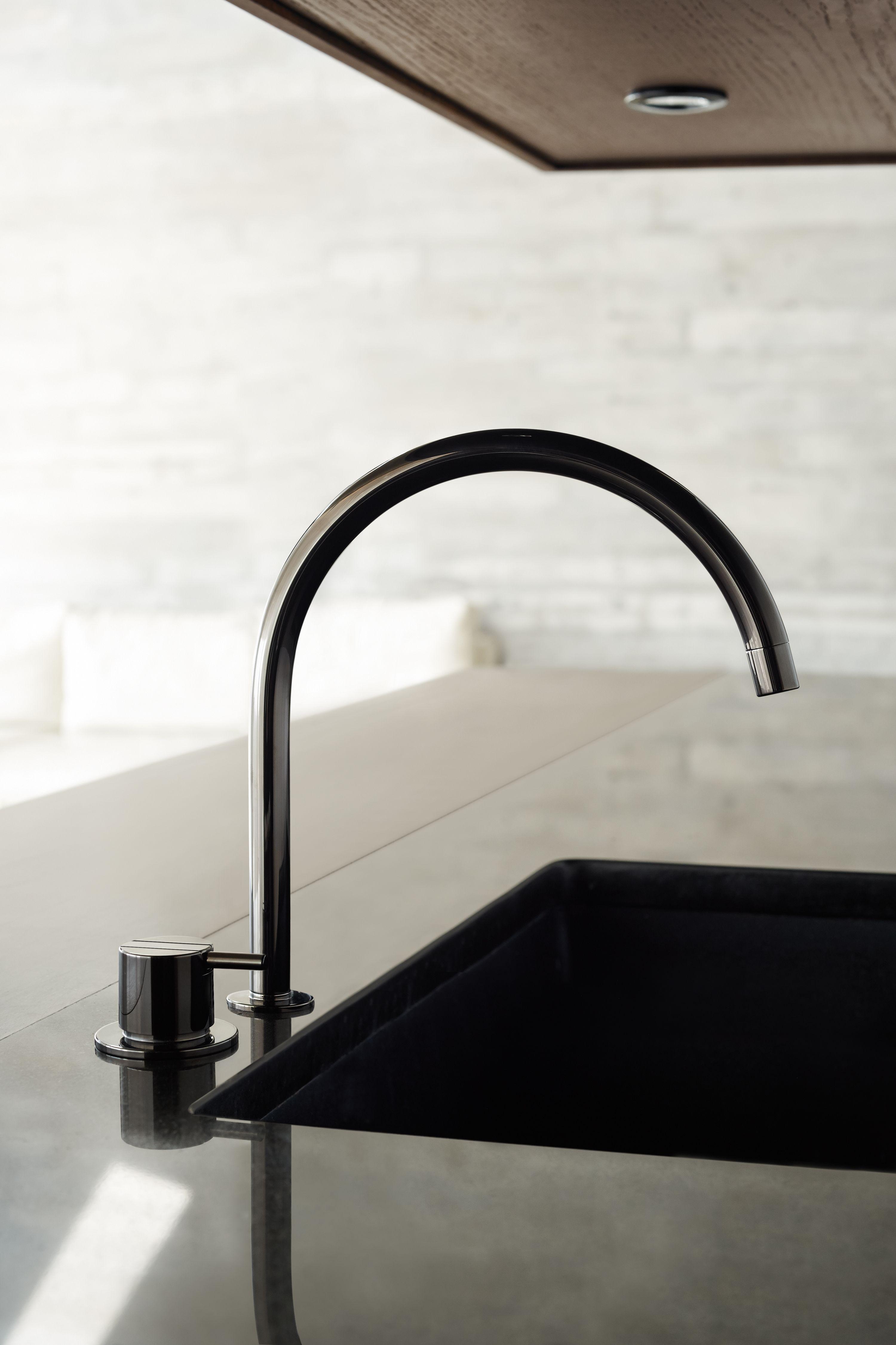 black kitchen design tap vola 590h