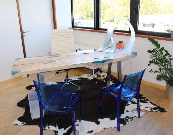 Bureau teck design bureau bois teck resine meuble design