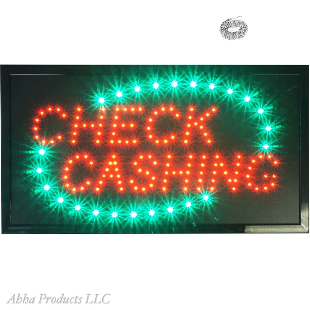 Large Check Cashing Payday Loans Cash Advance Money Led Open Business Sign Neon Led Open Sign Payday Loans Neon