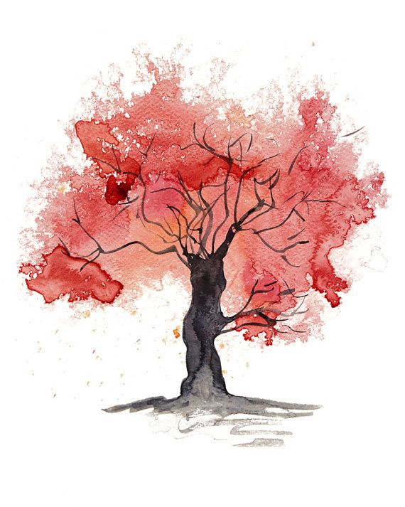 Items Similar To Fine Art Print Of My Abstract Watercolour Tree Painting In Red Available In Sizes 7 X 5 10 X 8 Soyut Agaclar Sanatsal Baski Soyut Suluboya