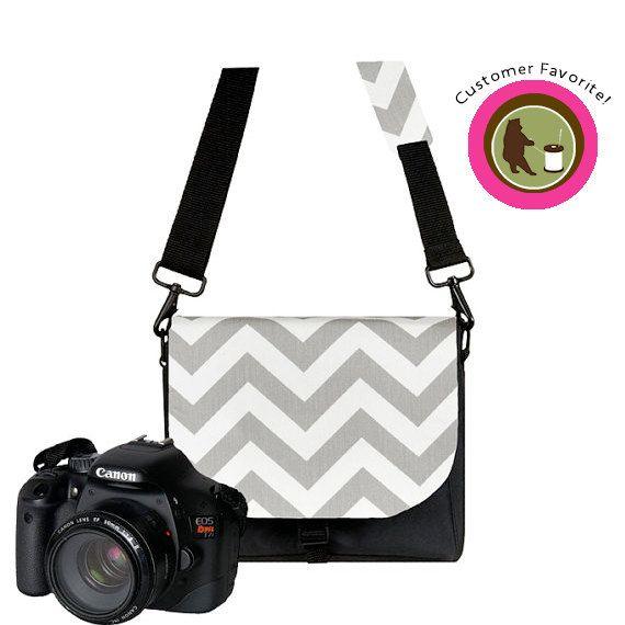 Digital SLR Camera Bags for Women - Padded, Water Resistant, Pockets, Handbag, Chevron Gray, on Etsy, $74.99