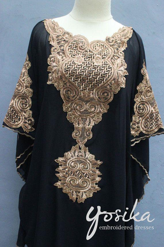 ca134b2695 Black Short Caftan Dress Tunic Gold Embroidery Kaftan Wedding Party Summer  Dress Short Description : Material : Chiffon Top Quality. Design Name : Sun
