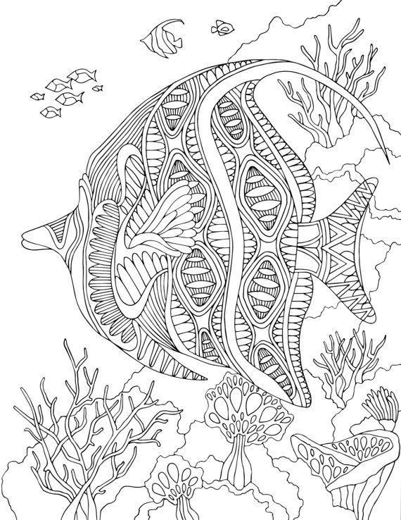Angelfish - PDF Zentangle Coloring Page - Therapy Coloring - Under ...