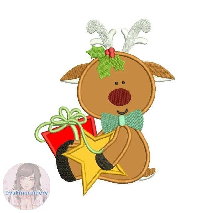 Christmas Gift With Reindeer And Star Applique Embroidery Design