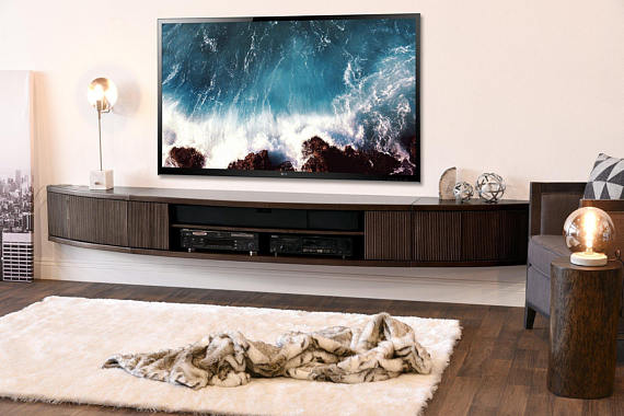 Curved Wall Mount Floating Entertainment Center Tv Stand Arc Etsy In 2021 Floating Entertainment Center Wall Mounted Tv Console Floating Tv Stand Curved tv stand with mount