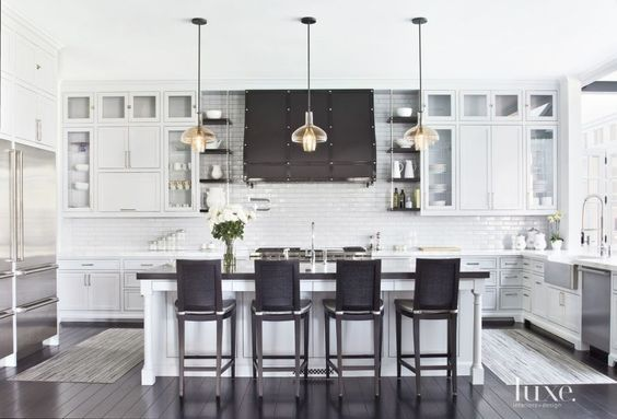 30 Cocinas y comedores elegantes decoradas con blanco y negro - comedores elegantes