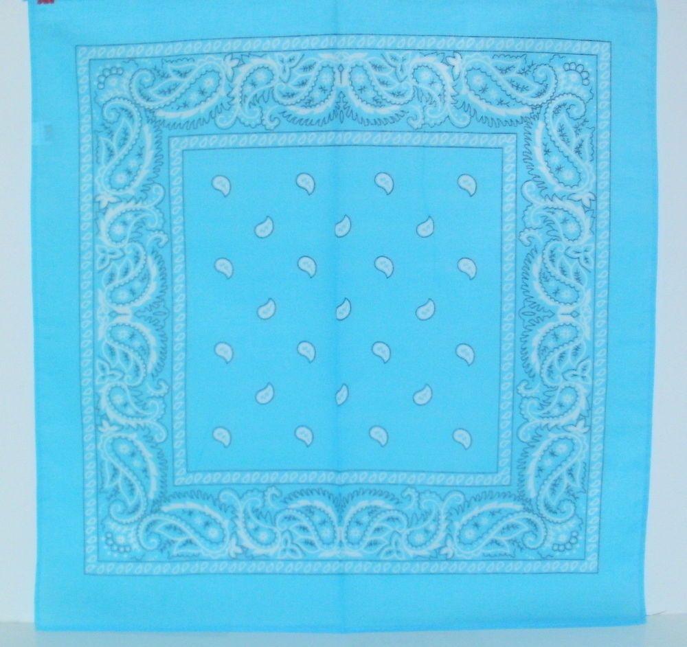 New LIGHT BLUE  PAISLEY  Bandana Scarf