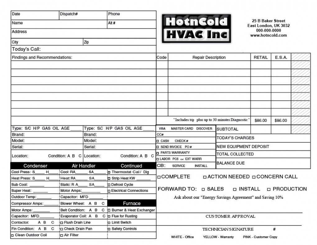 Heating Amp Air Invoice Form Samples Wilson Printing Wilson Hvac - Hvac invoice template free