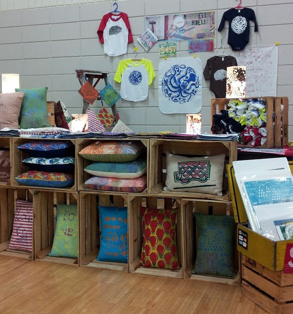 Wooden crate to display handmade pillows would look great for Quilt and craft show