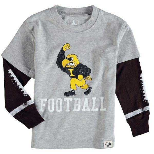 Iowa Hawkeyes Wes   Willy Toddler Football Fooler Long Sleeve T-Shirt -  Gray  IowaHawkeyes 176e118e8