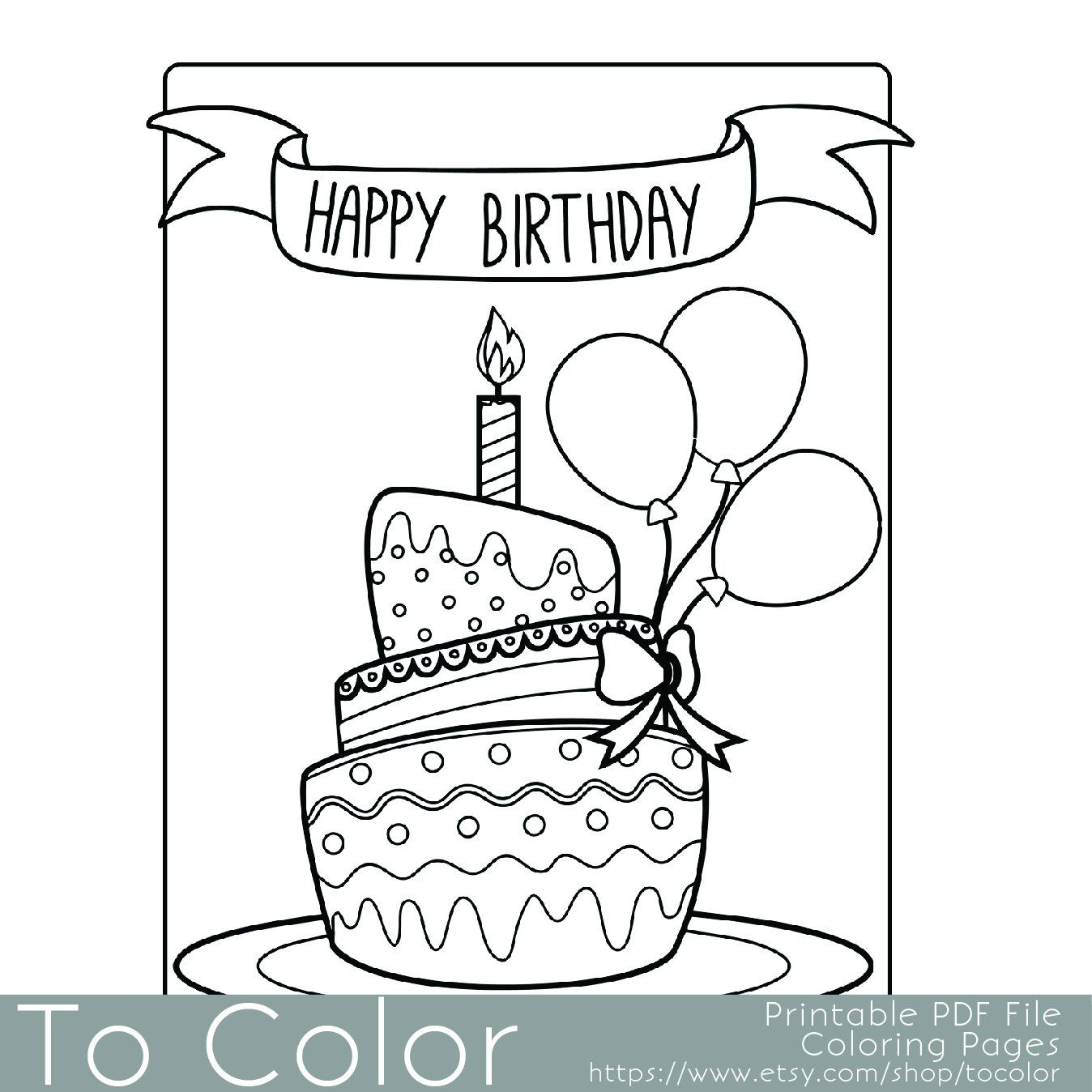 Printable Birthday Coloring Page for Adults, PDF / JPG