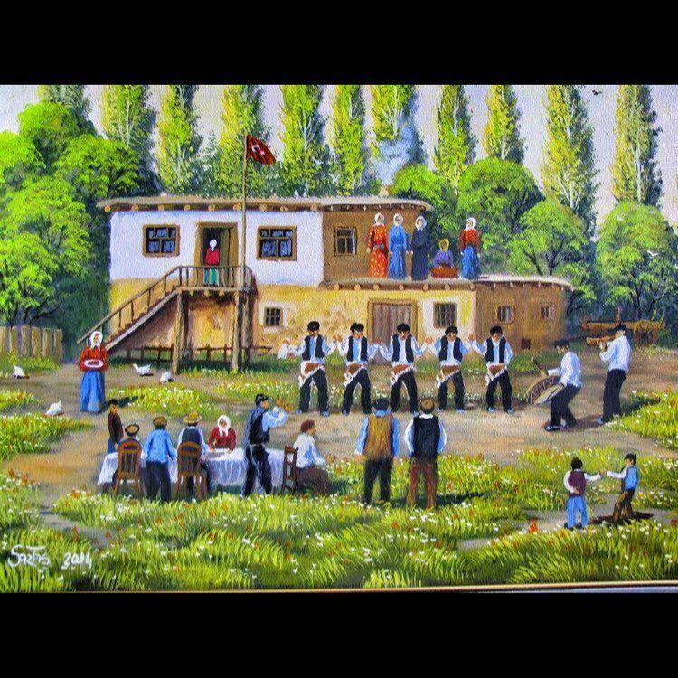 Köyde Düğün Tuval üzeri Yağlı Boya Resim Tablo Sergi