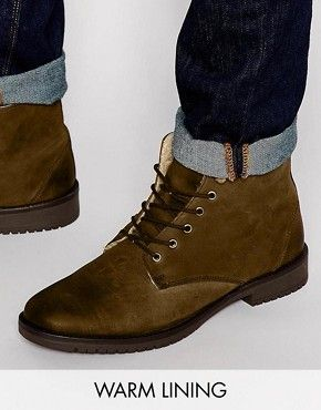 ASOS Boots in Brown Leather with Borg Lining