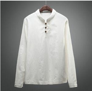 Camiseta de Lino de los Hombres de Manga Larga con Cuello en V de Algodón de Lino Top Casual Cómodo Transpirable Camisas SLJhgEcc