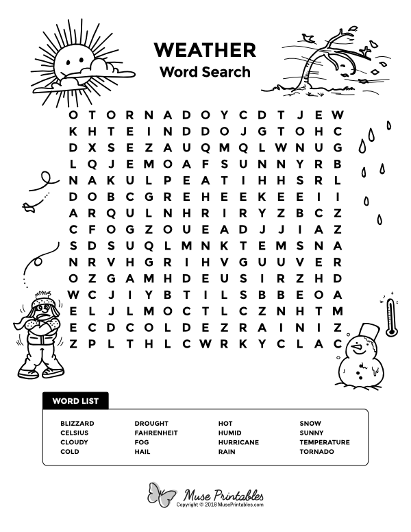 Free Printable Weather Word Search Download It At Https Museprintables Com Download Word Search Weat Weather Words Weather Word Search Childrens Word Search