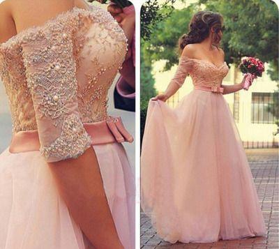 Half Long Sleeve Prom Dress, Pink Prom Dresses,Prom Dresses 2016,Off ...