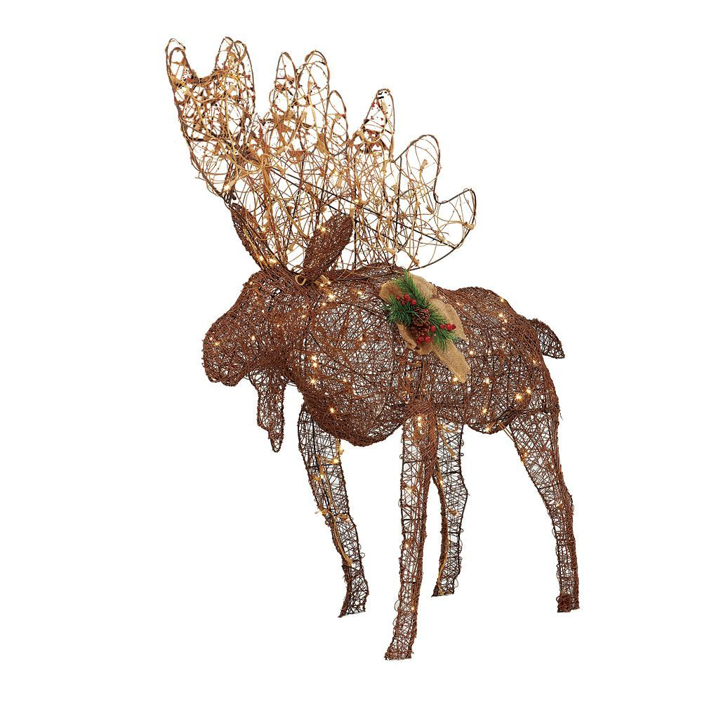4 ft Grapevine Moose Figurine with 175 Twinkling LED Lights