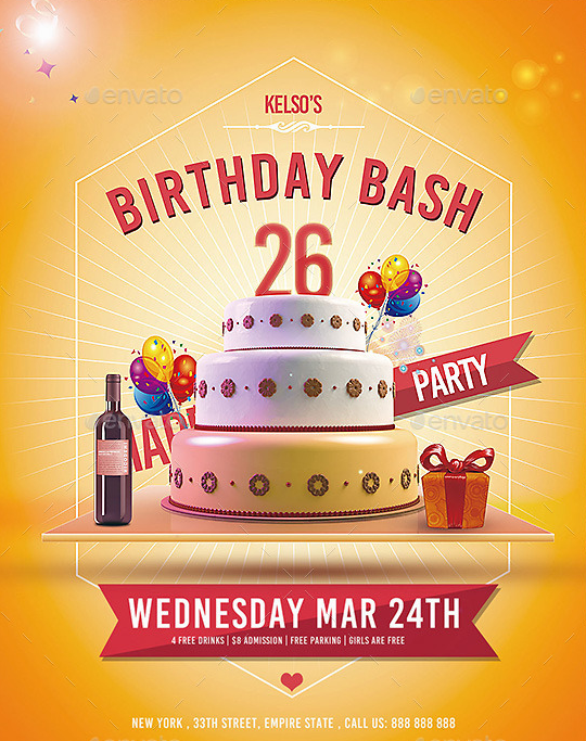 20 Beautifully Designed PSD Birthday Party Flyer Templates – Birthday Invitation Flyer Template
