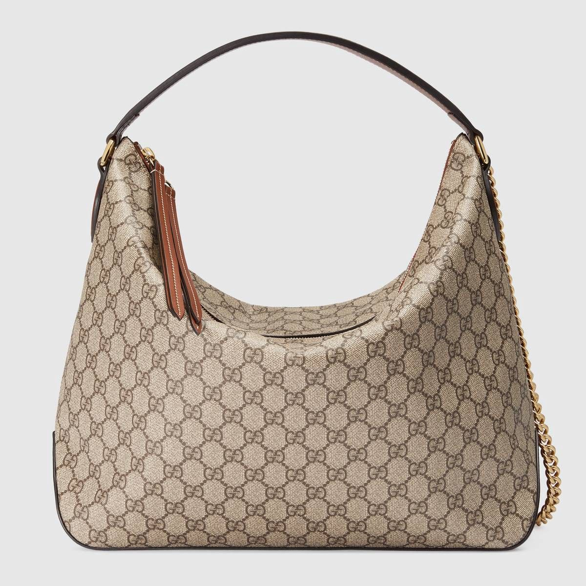 d5b9e1cb62be GUCCI GG Supreme large hobo - GG supreme canvas. #gucci #bags #canvas # lining #shoulder bags #suede #hand bags #hobo #