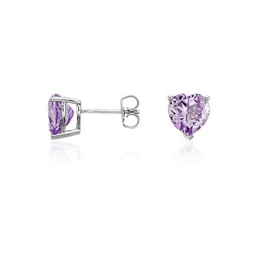 Lavender Amethyst Heart Earrings In Sterling Silver