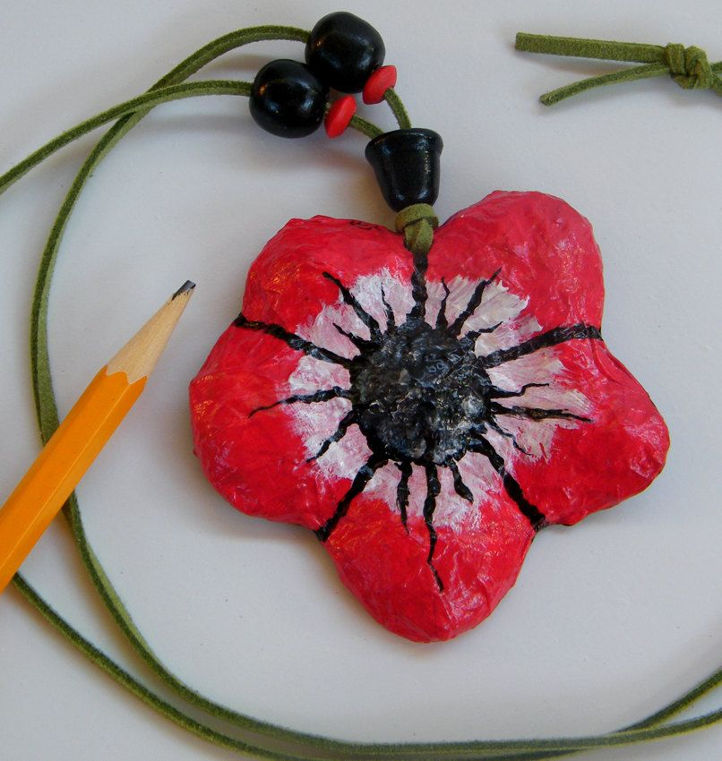 Red Flower Jewelry Ornamental Recycled Pendant Paper Mache Hand Painted Under 20 Dollar Free Shippi Paper Mache Flower Jewellery Thanksgiving Gifts