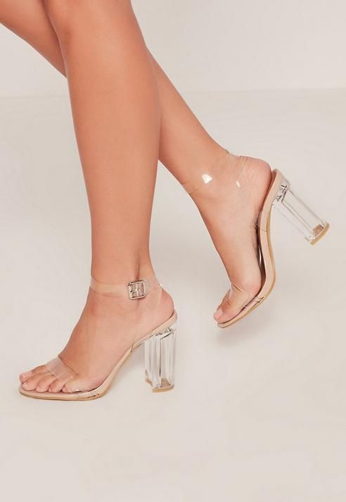 ... women s shoes from Missguided. Nude Transparent Block Heel Barely There  Sandals b1ec7f99a764
