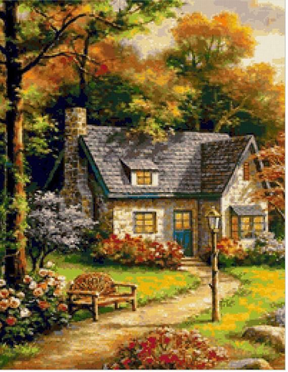village house,home sweet home,gift for your friend Counted Cross Stitch/Needlepoint Pattern PDF Chart Instant download