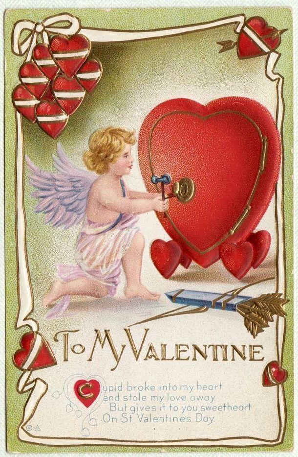 Vintage 1912 E. Nash Valentine Cherub Heart Postcard
