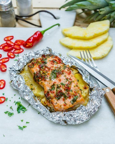 Photo of Easy Garlic Butter Salmon + Pineapple Packets for Quick Clean Eating –  Easy Gar…