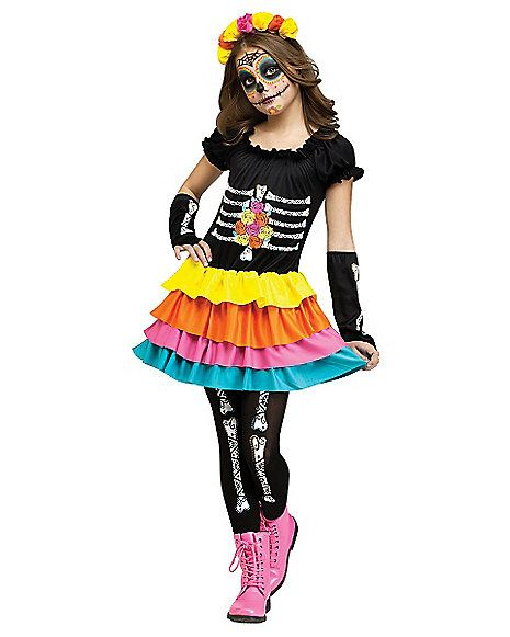 Rubies Kids Girls Sugar Skull Day Of The Dead Halloween Fancy Dress Costumes