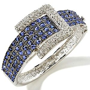 "Hsn Jewelry Boxes Brilliant Adrienne® ""jeweled Buckle"" Pavé Crystal Bangle Bracelet I Bought Decorating Design"