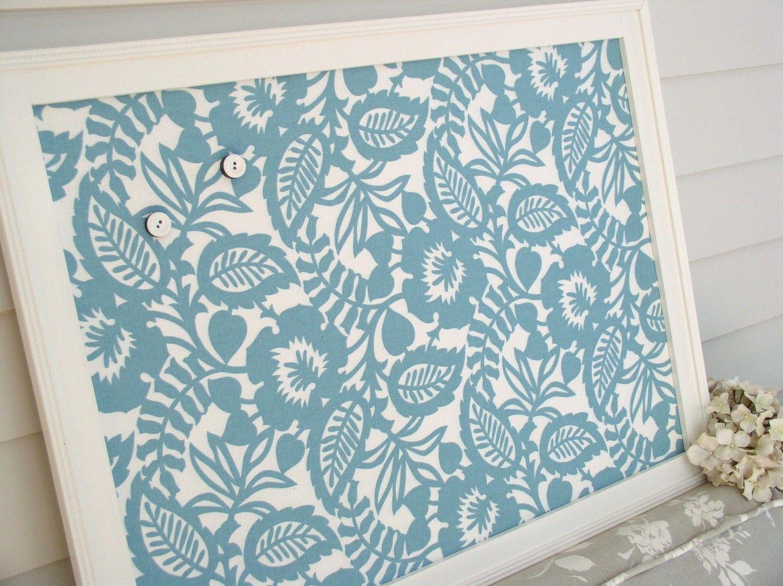 Magnet board bulletin board framed magnetic board in tuquiose aqua blue memo board with waverly decorative designer fabric