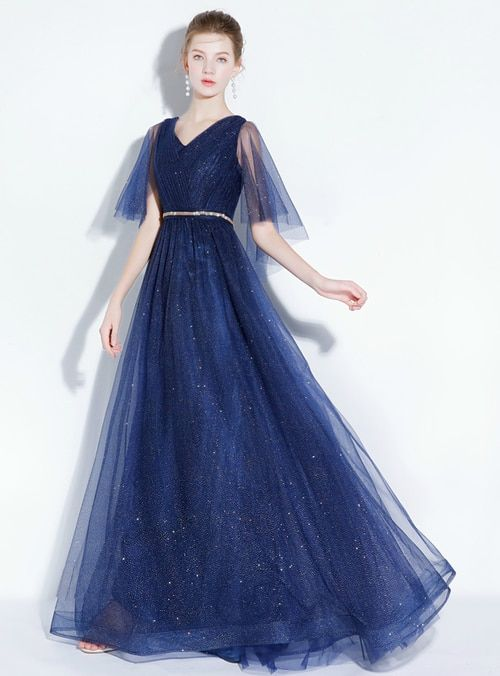 43f533dcd72c2 Silhouette a-line Hemline floor length Neckline v-neck Fabric tulle Shown  Color blue Sleeve Style sleeveless Back Style lace up Embellishment sequins