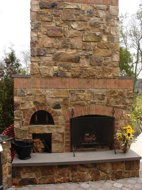 Stone And Brick Combo Outdoor Fireplaces Fireplaces