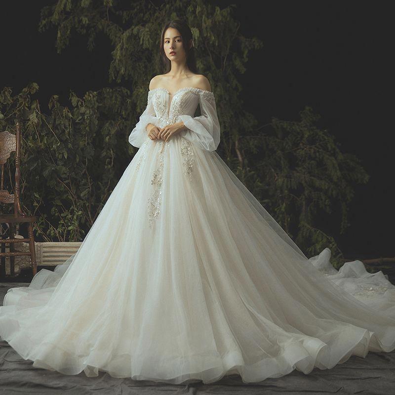 Luxury ivory wedding dresses 2019 ball gown