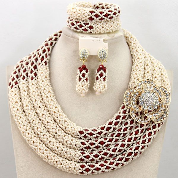Exclusive Coral Nigerian Wedding African Jewelry Sets 18K Gold Dubai Jewelry Set Indian Bridal Beads Set  Free Shipping WB308