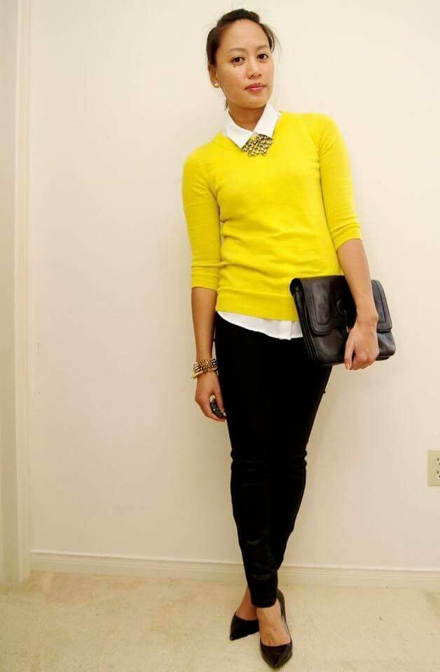 6617 Le Yellow Sweater Over White Short Sleeve Button Up Le Black