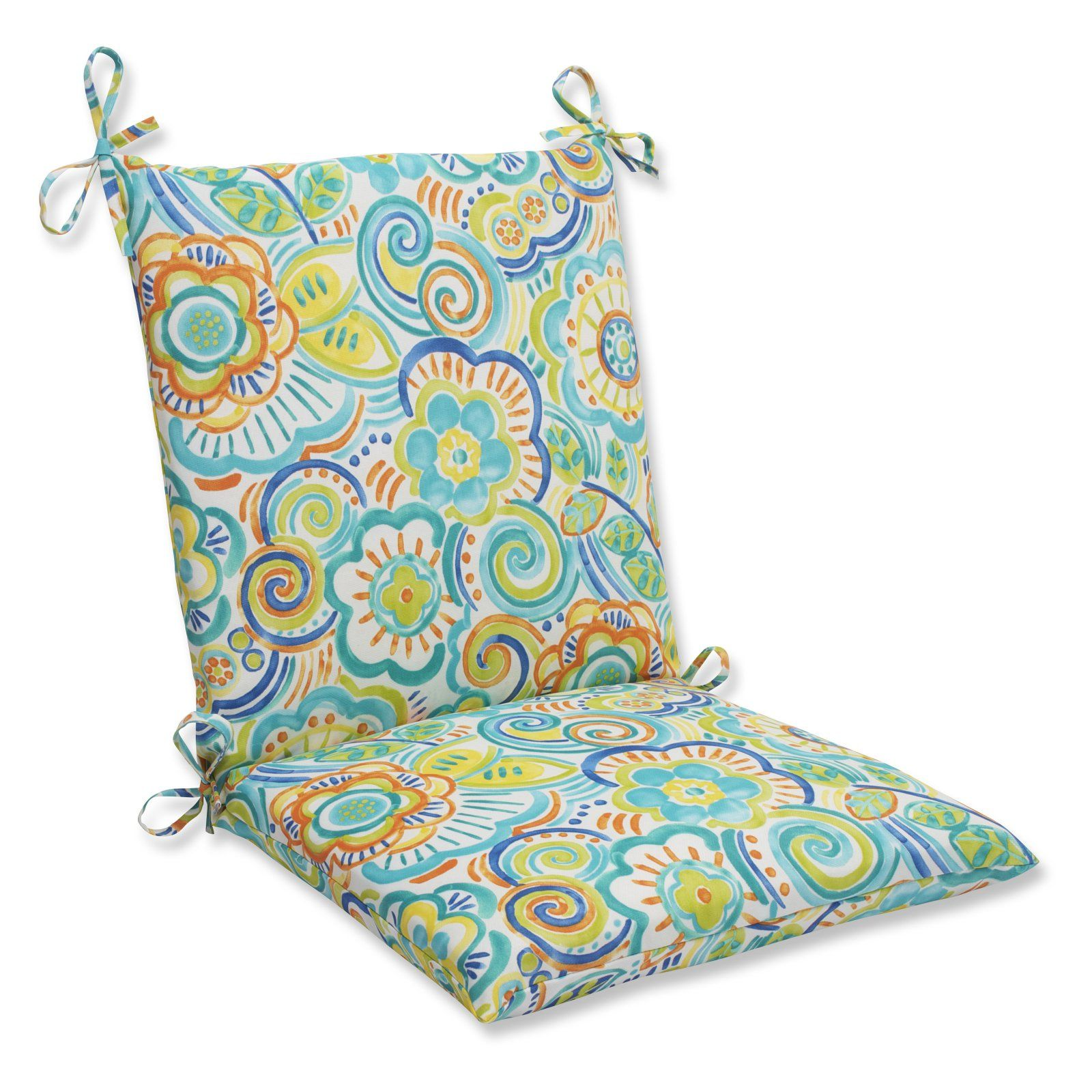 Pillow Perfect Bronwood Squared Corners Hinged Chair Cushion Caribbean
