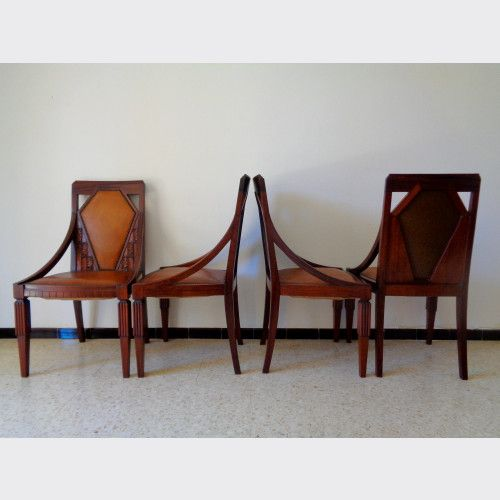 6 Chaises Art Deco Annees 25 30 En Acajou Et Cuir Chaise Art Deco Deco Art Deco