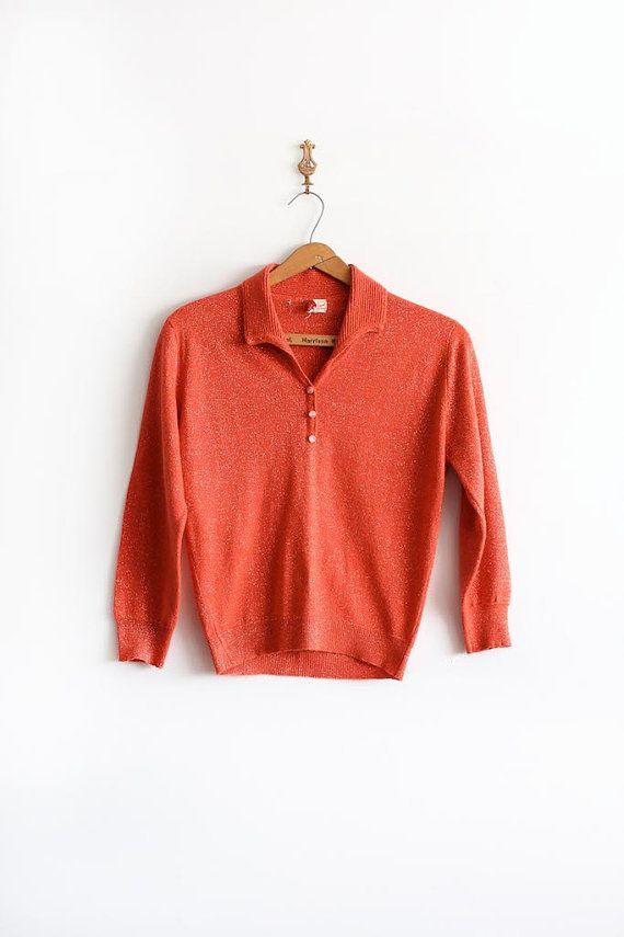 vintage 1950s sweater // 50s metallic orange jumper by TrunkofDresses