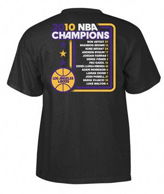 be74a8527 Angeles Lakers 2010 NBA Finals Champions Championship Roster T-Shirt