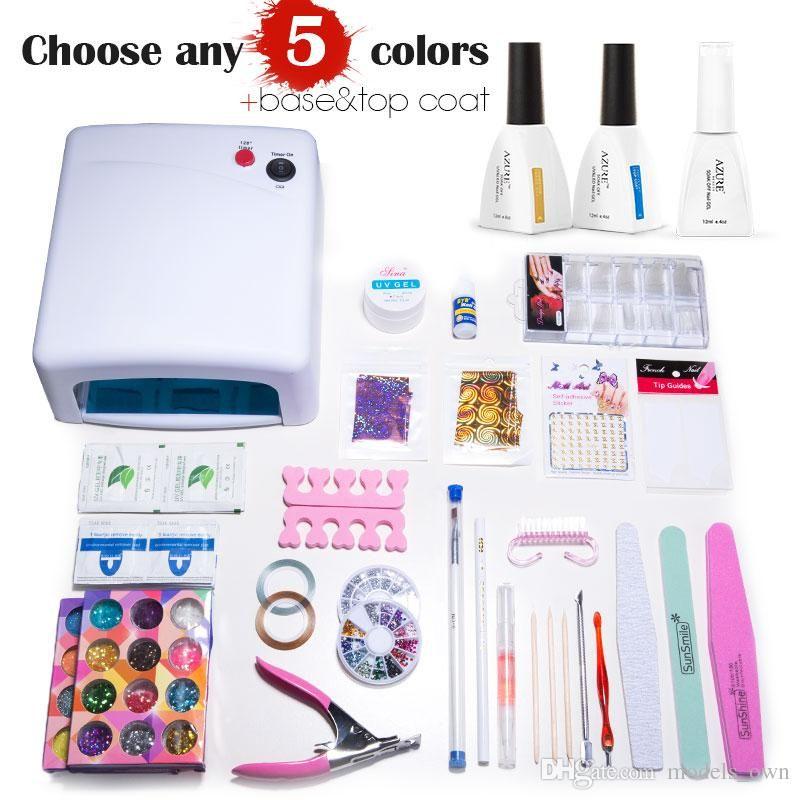Nail Art Manicure Tools 36W UV Lamp + 5 Color 12ml soak off Gel nail ...