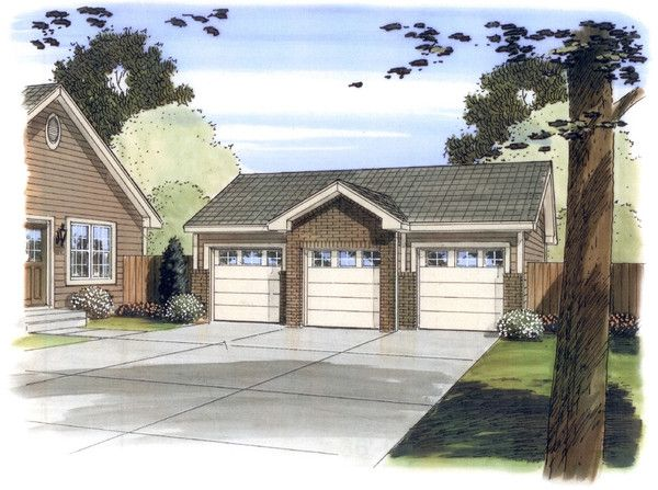 This Is A Single Story Traditional Garage With 3 Bays And 3 Windows On The  Rear. It Is Built On Slab Foundation.