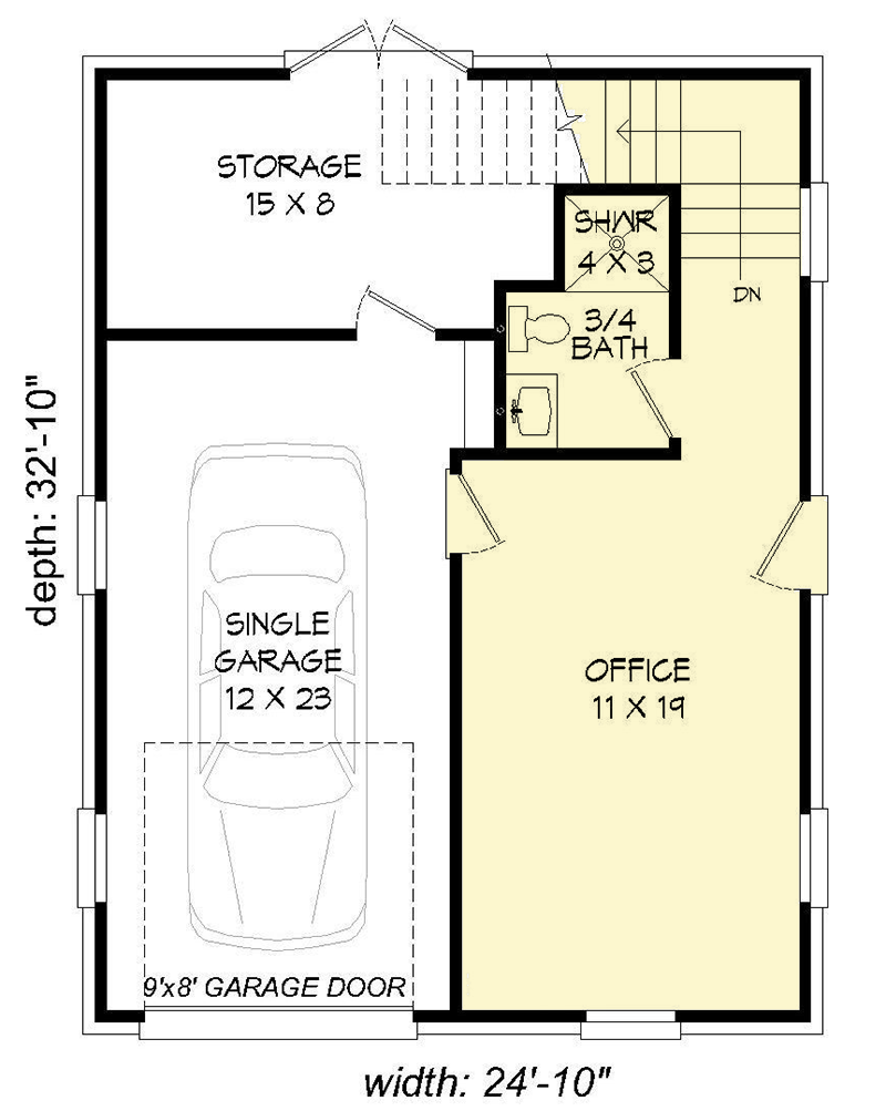 Plan 68447vr Detached Garage With Rec Room And Office Garage Plans Detached Garage House Plans Detached Garage