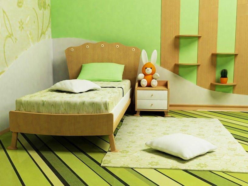 AuBergewohnlich Grüne Schlafzimmer Für Kinder Mit Gestreiften Grünen Fußboden Und Wände Mit  Natürlichen Holz Einzelbett