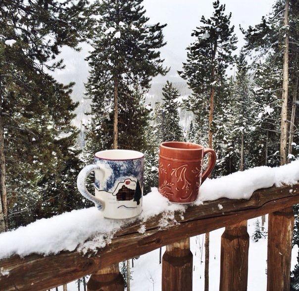 фото картинки чашка кофе на снегу средства