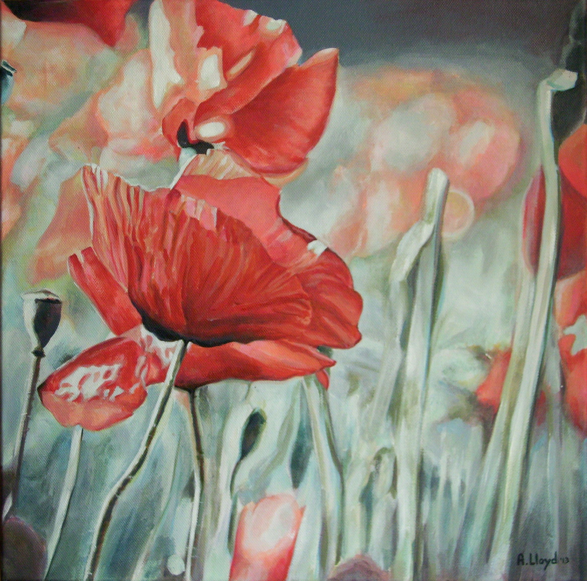 'Red Poppies', by Andy Lloyd, acrylic on canvas, September 2013