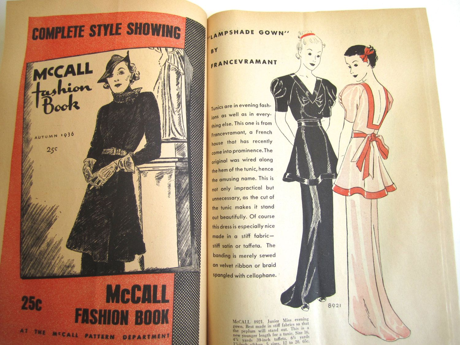 McCall Style News, September 1936 featuring McCall 8921 by Francevramant